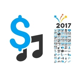 Music price icon with 2017 year bonus pictograms vector