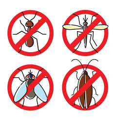 No insects flat icons set insecticide symbols vector