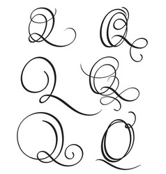 set of art calligraphy letter q with flourish of vector image vector image