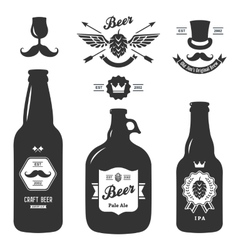 set of vintage craft beer bottles brewery badges vector image vector image