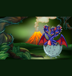 Three headed dragon hatching egg in forest vector