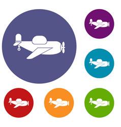 Toy plane icons set vector