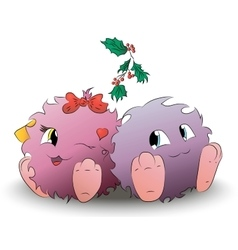 two cute cartoon monster Christmas mistletoe vector image vector image