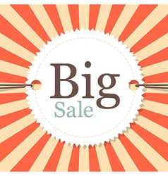 Vintage Retro Big Sale Tag - Label on Red and vector image vector image