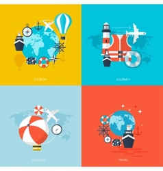 World travel concept backgrounds set Flat icons vector image vector image
