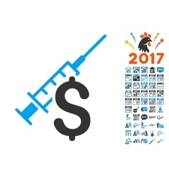 Narcotic business icon with 2017 year bonus vector