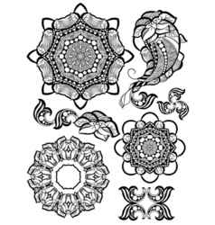 Hand-drawn mehendi ornamental elements and mandala vector image