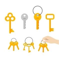 Keys bunch  key hanging on ring hand vector image