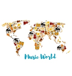 Musical instruments forming world map vector