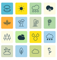 set of 16 world icons includes water drops cloud vector image