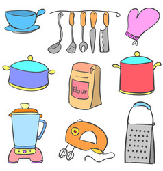 doodle kitchen set style colorful vector image