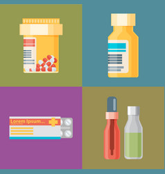 Pharmacy icons set pills and capsules healthcare vector