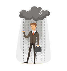Depressed businessman with briefcase standing in vector