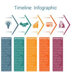 Timeline infographic 5 color arrows vector