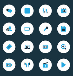 Media colorful icons set collection of zoom in vector