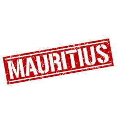 Mauritius red square stamp vector