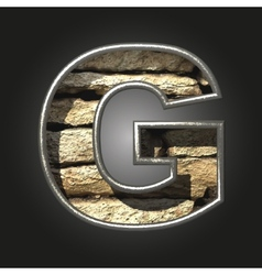 Old stone letter g vector