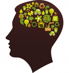 Human head with eco icons vector