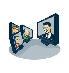 Webinar video conference retro vector