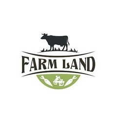 Buffalo farm land harvest vintage logo vector