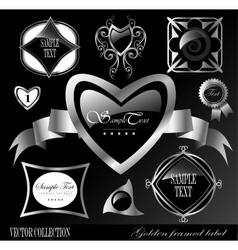Retro black silver label vector
