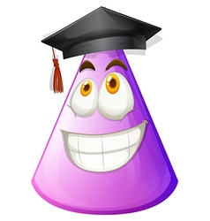 Purple cone with graduation cap vector