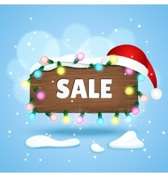 Wooden sign with sale text christmas lights and vector