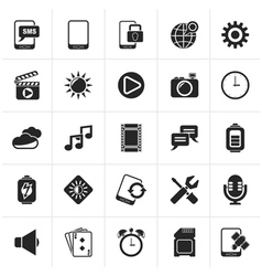 Black mobile phone interface icons vector