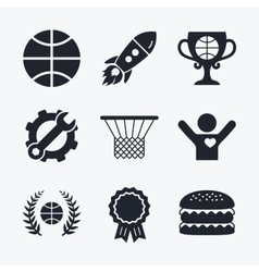 Basketball icons ball with basket and cup symbols vector