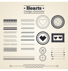 Hearts design elements vector