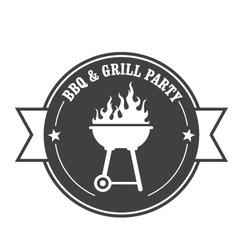 Barbecue stamp - bbq and grill party vector image