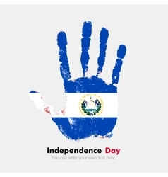 Handprint with the flag of el salvador in grunge vector