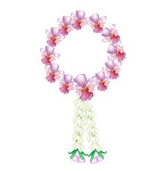 A Fresh Pink Colors of Vanda Orchid Garland vector image