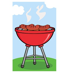 BBQ sausage outside vector image vector image