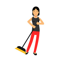 Beautiful young brunette woman housewife sweeping vector