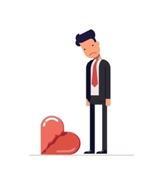 Broken heart Sad man in a business suit Divorce vector image