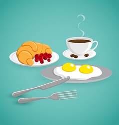 Coffee with eggs and croissant vector