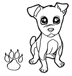Dog with paw print coloring pages vector