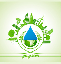 Eco energy concept with leafcityscapewater drop vector