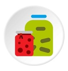 Jam jars icon flat style vector