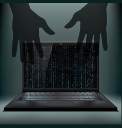 Laptop with a binary code on the screen vector