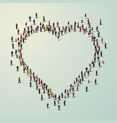 Large group of people in heart vector