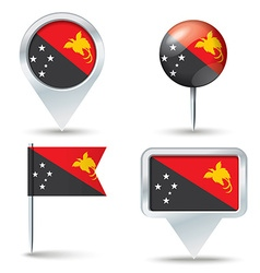 Map pins with flag of Papua New Guinea vector image