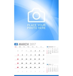 March 2017 wall monthly calendar for 2017 year vector