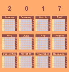 Natural color demo 2017 calendar template vector