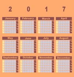 Natural color demo 2017 calendar template vector image
