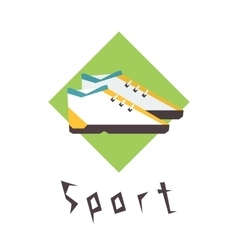 Running shoes sport fitness logo vector