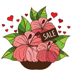 Sale bouquet of flowers colored for design vector