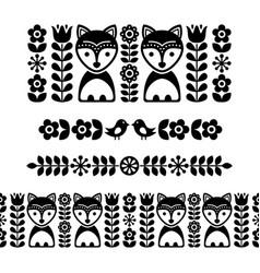 Scandinavian folk art pattern - black long stripe vector