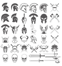 Set of ancient weapon helmets swords and design vector image vector image